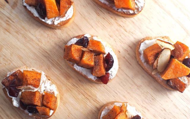 Love and Roasted Butternut Squash, Craisin and Almond Crostini