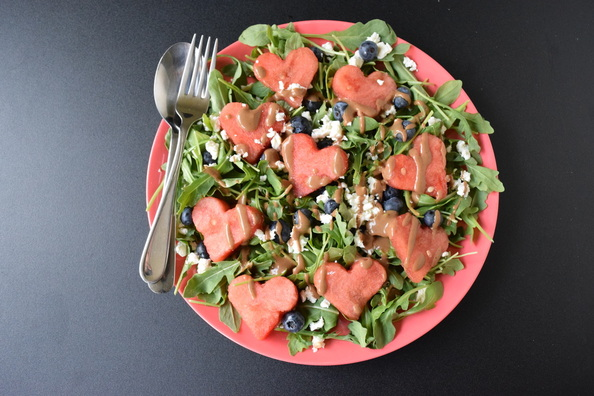 Love and Watermelon, Feta, Blueberry and Arugula Salad